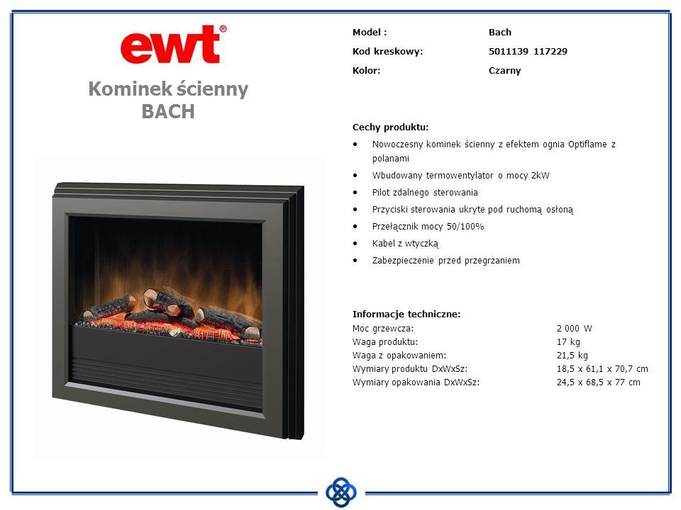Model :Bach Kod kreskowy:5011139 117229 Kolor:Czarny Cechy produktu: Nowoczesny kominek ścienny z efektem ognia Optiflame z polanami Wbudowany termowe
