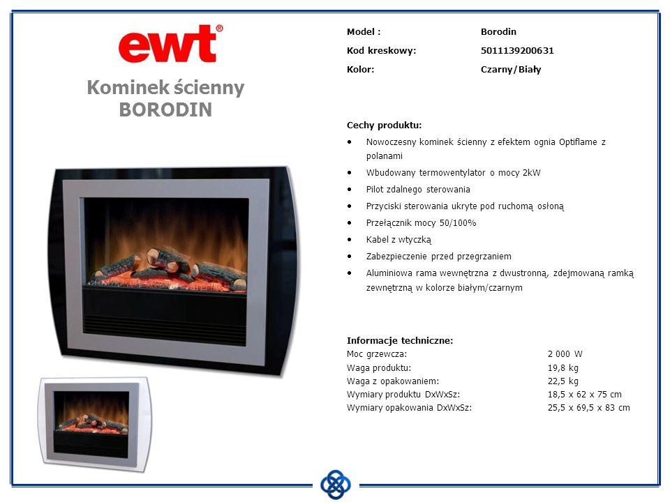 Model :Borodin Kod kreskowy:5011139200631 Kolor:Czarny/Biały Cechy produktu: Nowoczesny kominek ścienny z efektem ognia Optiflame z polanami Wbudowany