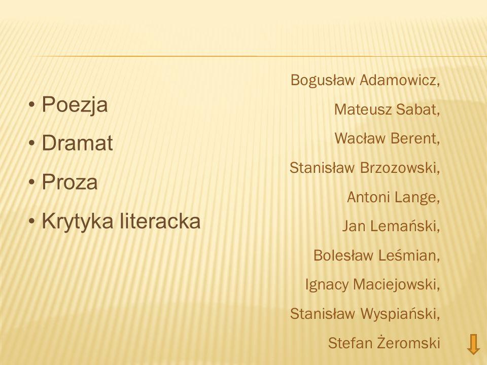 Poezja Dramat Proza Krytyka literacka Bogusław Adamowicz, Mateusz Sabat, Wacław Berent, Stanisław Brzozowski, Antoni Lange, Jan Lemański, Bolesław Leś