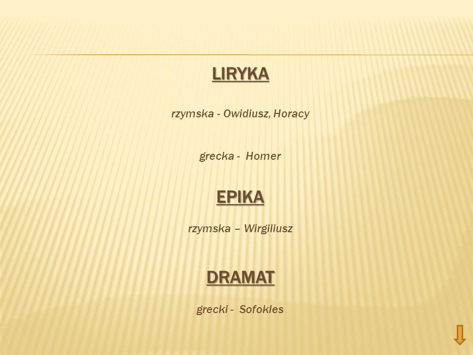 LIRYKA rzymska - Owidiusz, Horacy grecka - HomerEPIKA rzymska – WirgiliuszDRAMAT grecki - Sofokles