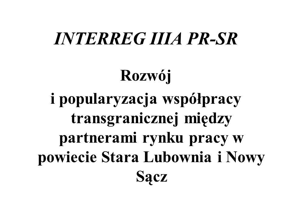 INTERREG IIIA PR-SR Rozwój i popularyzacja współpracy transgranicznej między partnerami rynku pracy w powiecie Stara Lubownia i Nowy Sącz