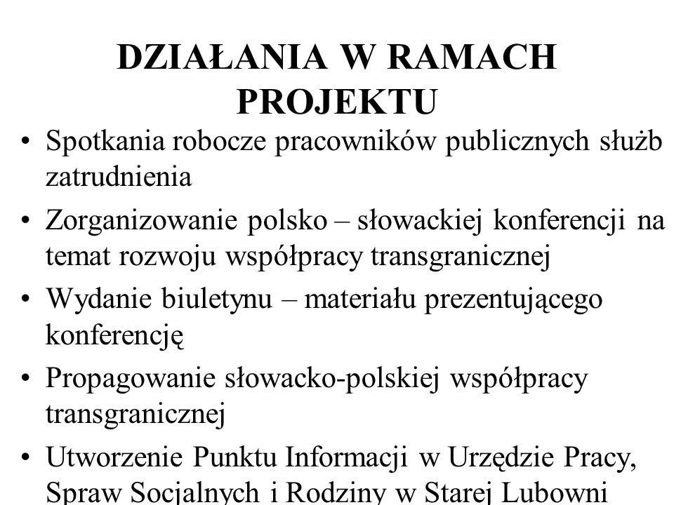 DZIAŁANIA W RAMACH PROJEKTU Spotkania robocze pracowników publicznych służb zatrudnienia Zorganizowanie polsko – słowackiej konferencji na temat rozwo