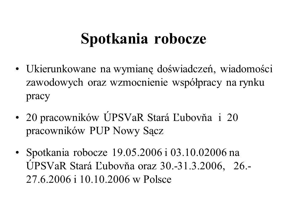 Spotkania robocze Ukierunkowane na wymianę doświadczeń, wiadomości zawodowych oraz wzmocnienie współpracy na rynku pracy 20 pracowników ÚPSVaR Stará Ľ
