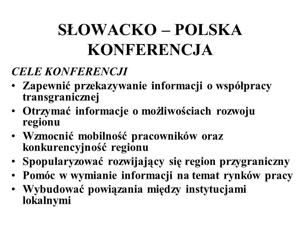 SŁOWACKO – POLSKA KONFERENCJA CELE KONFERENCJI Zapewnić przekazywanie informacji o współpracy transgranicznej Otrzymać informacje o możliwościach rozw