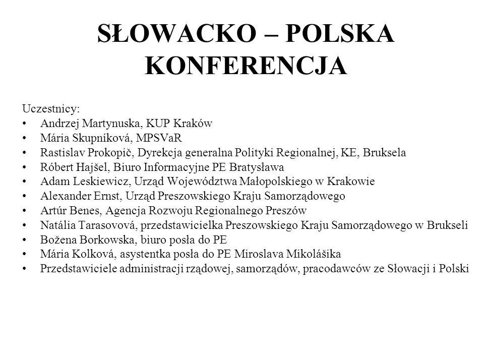 SŁOWACKO – POLSKA KONFERENCJA Uczestnicy: Andrzej Martynuska, KUP Kraków Mária Skupníková, MPSVaR Rastislav Prokopič, Dyrekcja generalna Polityki Regi