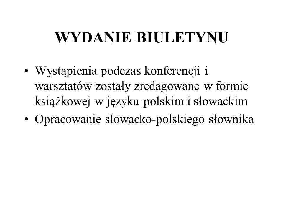WYDANIE BIULETYNU Wystąpienia podczas konferencji i warsztatów zostały zredagowane w formie książkowej w języku polskim i słowackim Opracowanie słowac