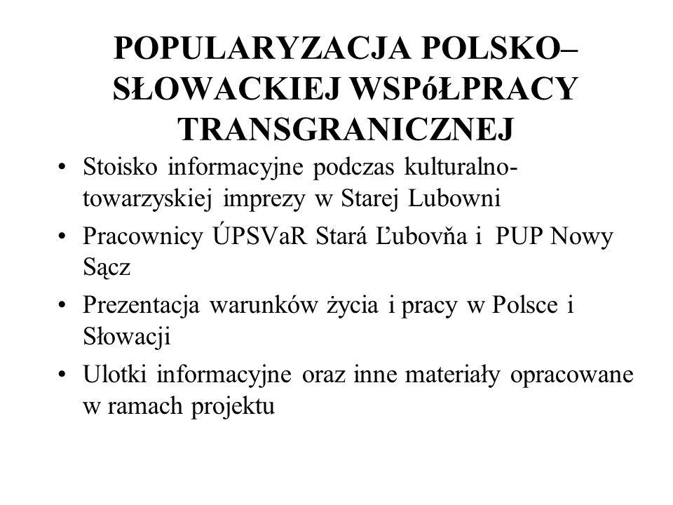 POPULARYZACJA POLSKO– SŁOWACKIEJ WSPóŁPRACY TRANSGRANICZNEJ Stoisko informacyjne podczas kulturalno- towarzyskiej imprezy w Starej Lubowni Pracownicy