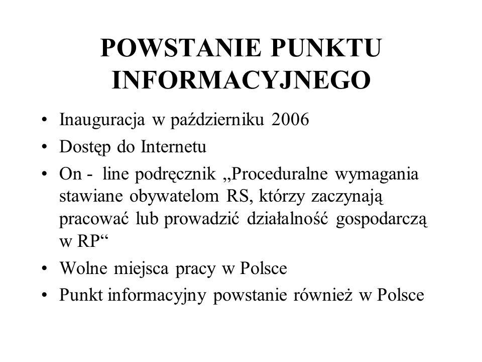 POWSTANIE PUNKTU INFORMACYJNEGO Inauguracja w październiku 2006 Dostęp do Internetu On - line podręcznik Proceduralne wymagania stawiane obywatelom RS