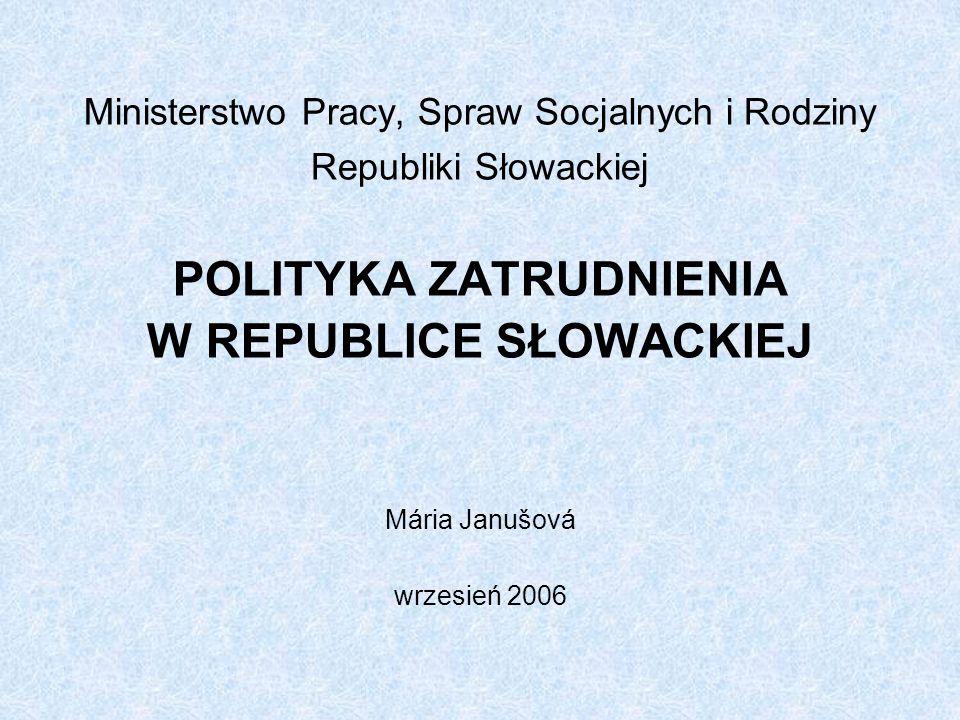 Ministerstwo Pracy, Spraw Socjalnych i Rodziny Republiki Słowackiej POLITYKA ZATRUDNIENIA W REPUBLICE SŁOWACKIEJ Mária Janušová wrzesień 2006