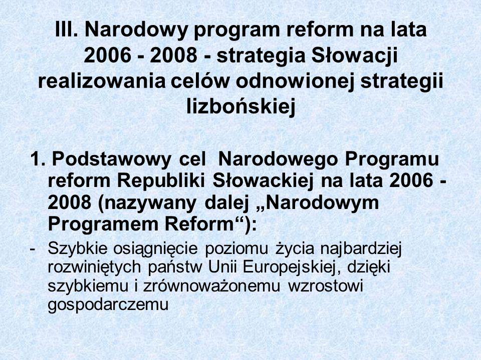 III. Narodowy program reform na lata 2006 - 2008 - strategia Słowacji realizowania celów odnowionej strategii lizbońskiej 1. Podstawowy cel Narodowego