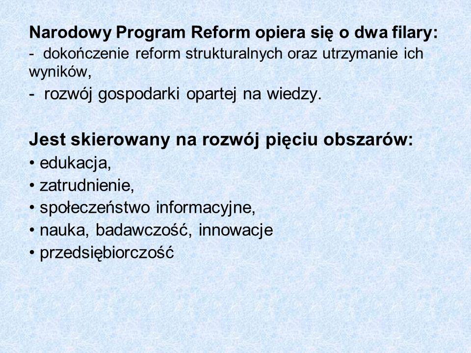 Narodowy Program Reform opiera się o dwa filary: - dokończenie reform strukturalnych oraz utrzymanie ich wyników, - rozwój gospodarki opartej na wiedz