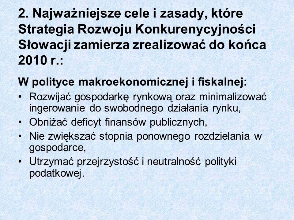 2. Najważniejsze cele i zasady, które Strategia Rozwoju Konkurenycyjności Słowacji zamierza zrealizować do końca 2010 r.: W polityce makroekonomicznej