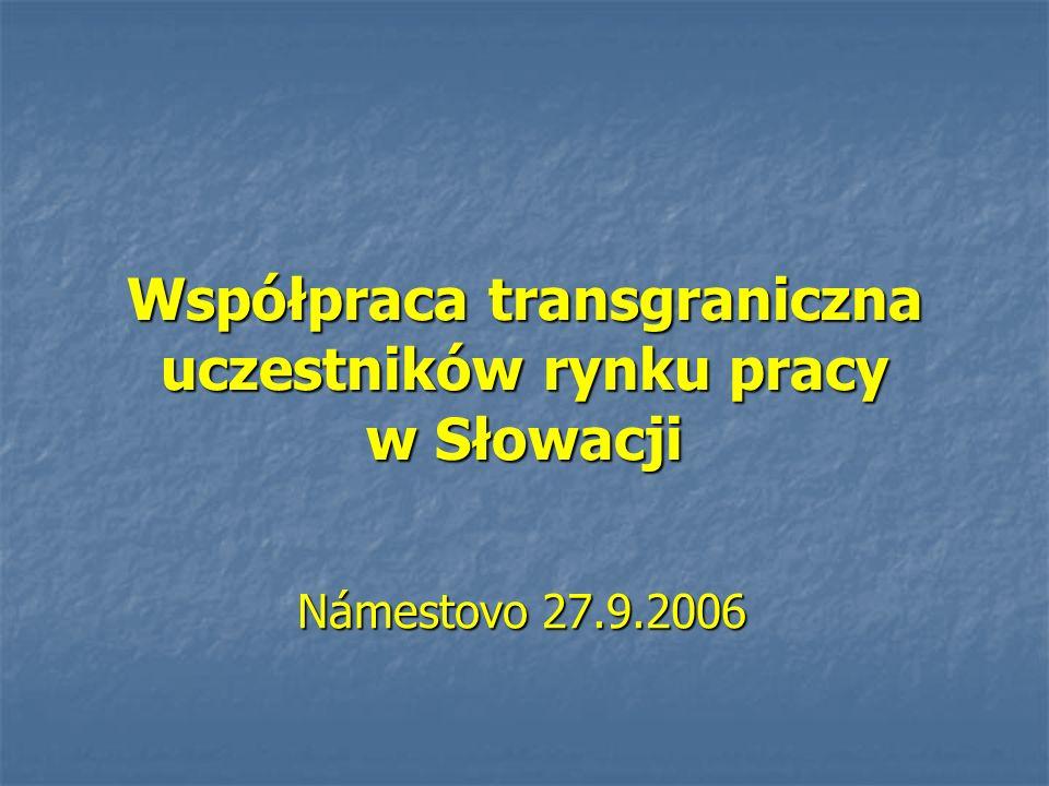 Współpraca transgraniczna uczestników rynku pracy w Słowacji Námestovo 27.9.2006 Námestovo 27.9.2006