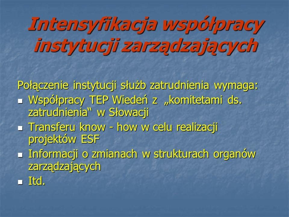 Intensyfikacja współpracy instytucji zarządzających Połączenie instytucji służb zatrudnienia wymaga: Współpracy TEP Wiedeń z komitetami ds. zatrudnien