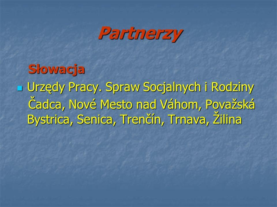 Partnerzy Słowacja Słowacja Urzędy Pracy. Spraw Socjalnych i Rodziny Urzędy Pracy. Spraw Socjalnych i Rodziny Čadca, Nové Mesto nad Váhom, Považská By