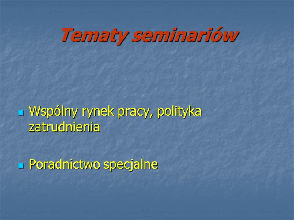 Tematy seminariów Wspólny rynek pracy, polityka zatrudnienia Wspólny rynek pracy, polityka zatrudnienia Poradnictwo specjalne Poradnictwo specjalne