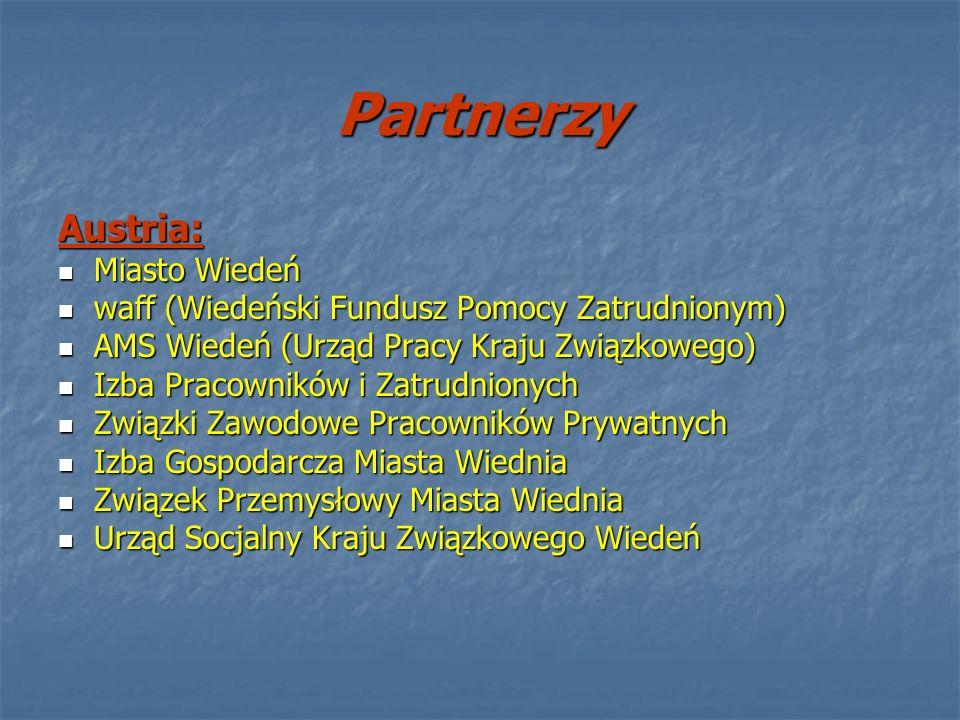 Partnerzy Austria: Miasto Wiedeń Miasto Wiedeń waff (Wiedeński Fundusz Pomocy Zatrudnionym) waff (Wiedeński Fundusz Pomocy Zatrudnionym) AMS Wiedeń (U