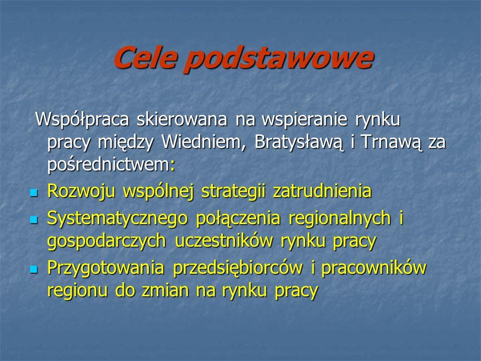 Cele podstawowe Współpraca skierowana na wspieranie rynku pracy między Wiedniem, Bratysławą i Trnawą za pośrednictwem: Współpraca skierowana na wspier