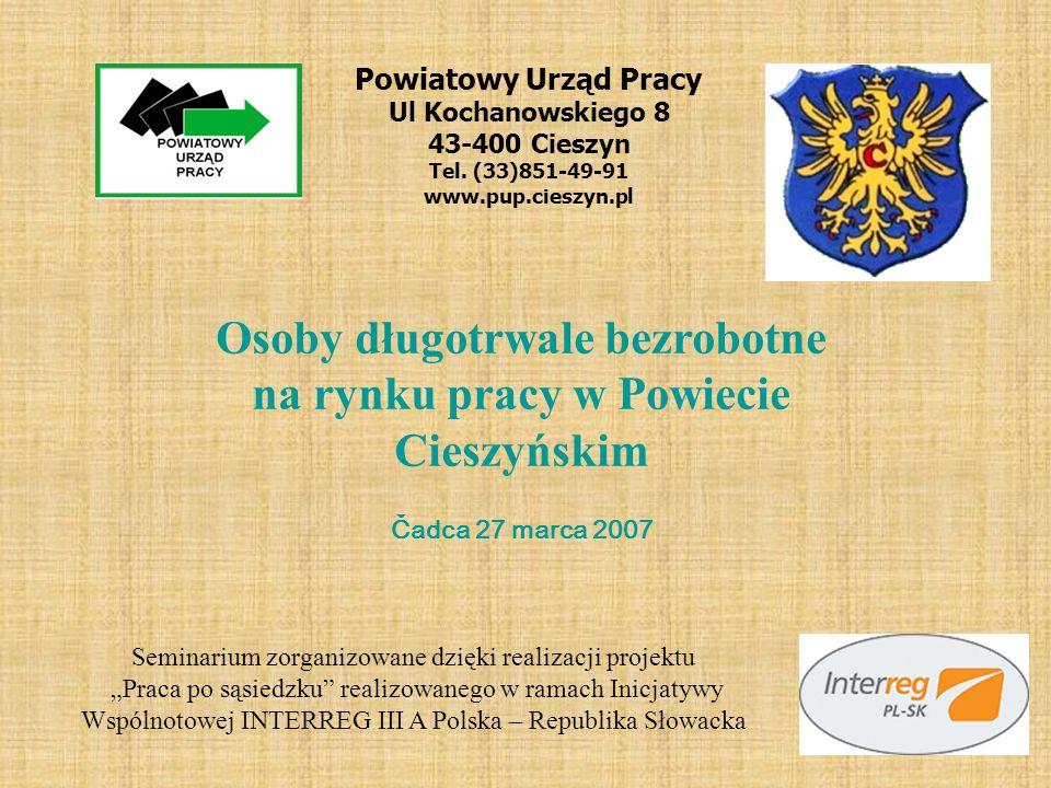 Powiatowy Urząd Pracy Ul Kochanowskiego 8 43-400 Cieszyn Tel. (33)851-49-91 www.pup.cieszyn.pl Osoby długotrwale bezrobotne na rynku pracy w Powiecie