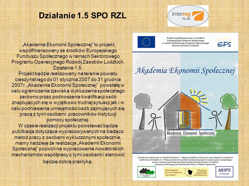 Działanie 1.5 SPO RZL Akademia Ekonomii Społecznej to projekt współfinansowany ze środków Europejskiego Funduszu Społecznego w ramach Sektorowego Prog