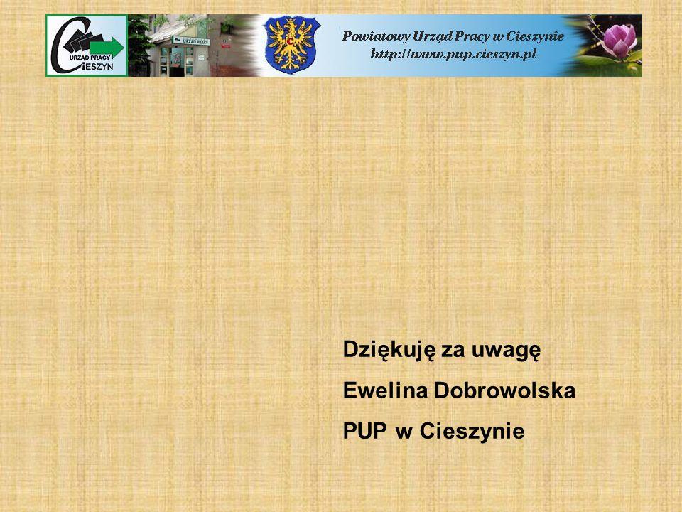 Dziękuję za uwagę Ewelina Dobrowolska PUP w Cieszynie