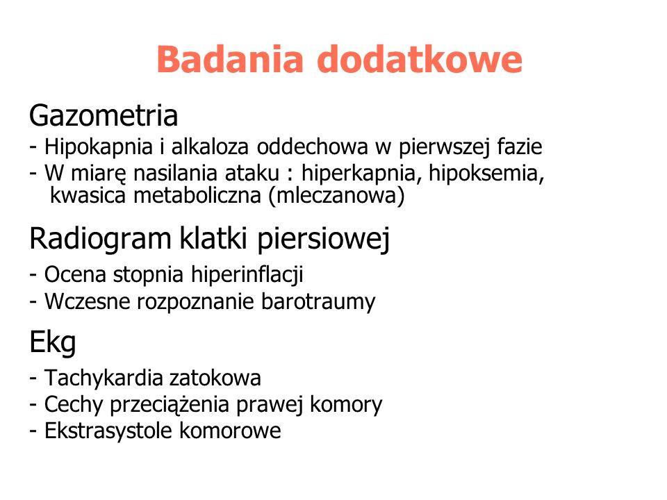 Badania dodatkowe Gazometria - Hipokapnia i alkaloza oddechowa w pierwszej fazie - W miarę nasilania ataku : hiperkapnia, hipoksemia, kwasica metaboli