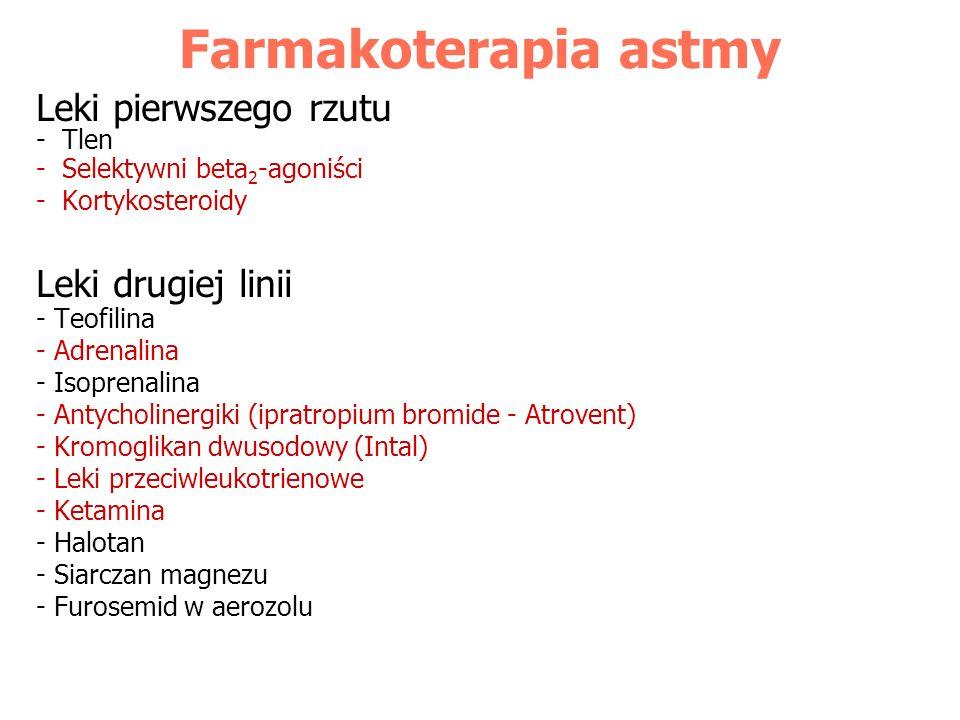 Farmakoterapia astmy Leki pierwszego rzutu - Tlen - Selektywni beta 2 -agoniści - Kortykosteroidy Leki drugiej linii - Teofilina - Adrenalina - Isopre