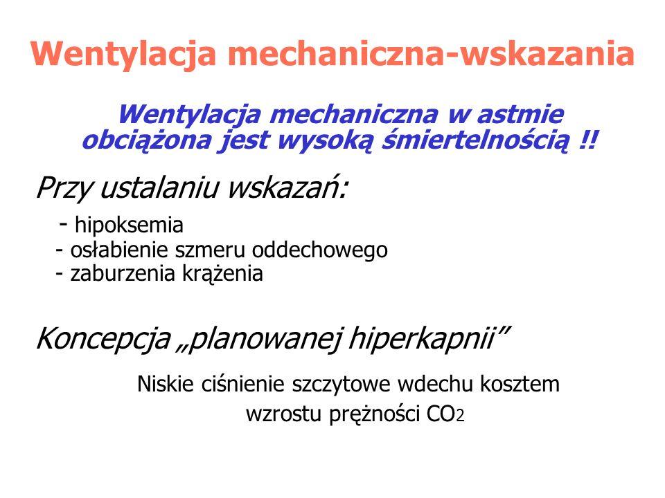 Wentylacja mechaniczna-wskazania Wentylacja mechaniczna w astmie obciążona jest wysoką śmiertelnością !! Przy ustalaniu wskazań: - hipoksemia - osłabi