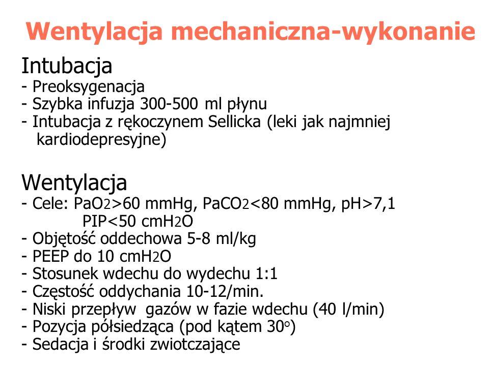 Wentylacja mechaniczna-wykonanie Intubacja - Preoksygenacja - Szybka infuzja 300-500 ml płynu - Intubacja z rękoczynem Sellicka (leki jak najmniej kar