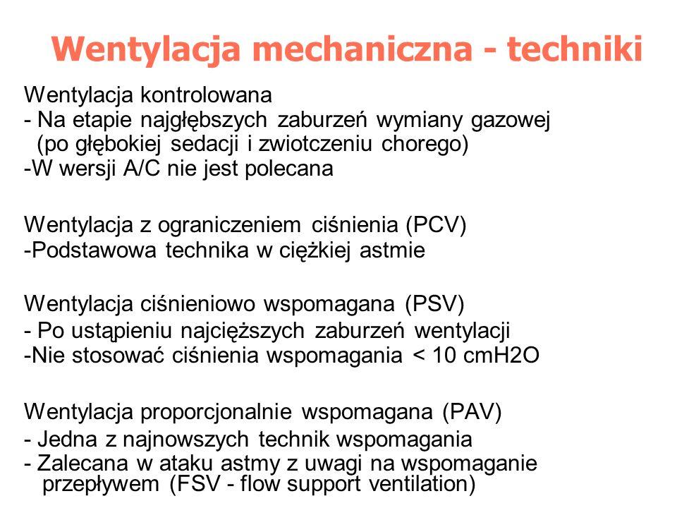 Wentylacja mechaniczna - techniki Wentylacja kontrolowana - Na etapie najgłębszych zaburzeń wymiany gazowej (po głębokiej sedacji i zwiotczeniu choreg