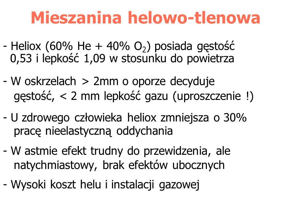 Mieszanina helowo-tlenowa - Heliox (60% He + 40% O 2 ) posiada gęstość 0,53 i lepkość 1,09 w stosunku do powietrza - W oskrzelach > 2mm o oporze decyd
