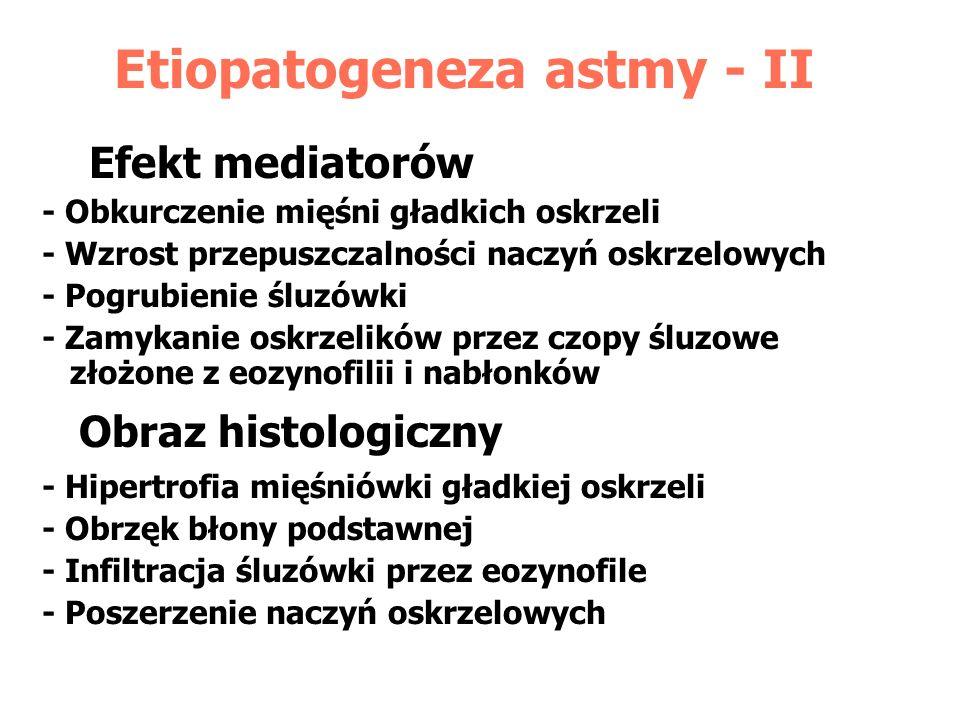 Etiopatogeneza astmy - II Efekt mediatorów - Obkurczenie mięśni gładkich oskrzeli - Wzrost przepuszczalności naczyń oskrzelowych - Pogrubienie śluzówk