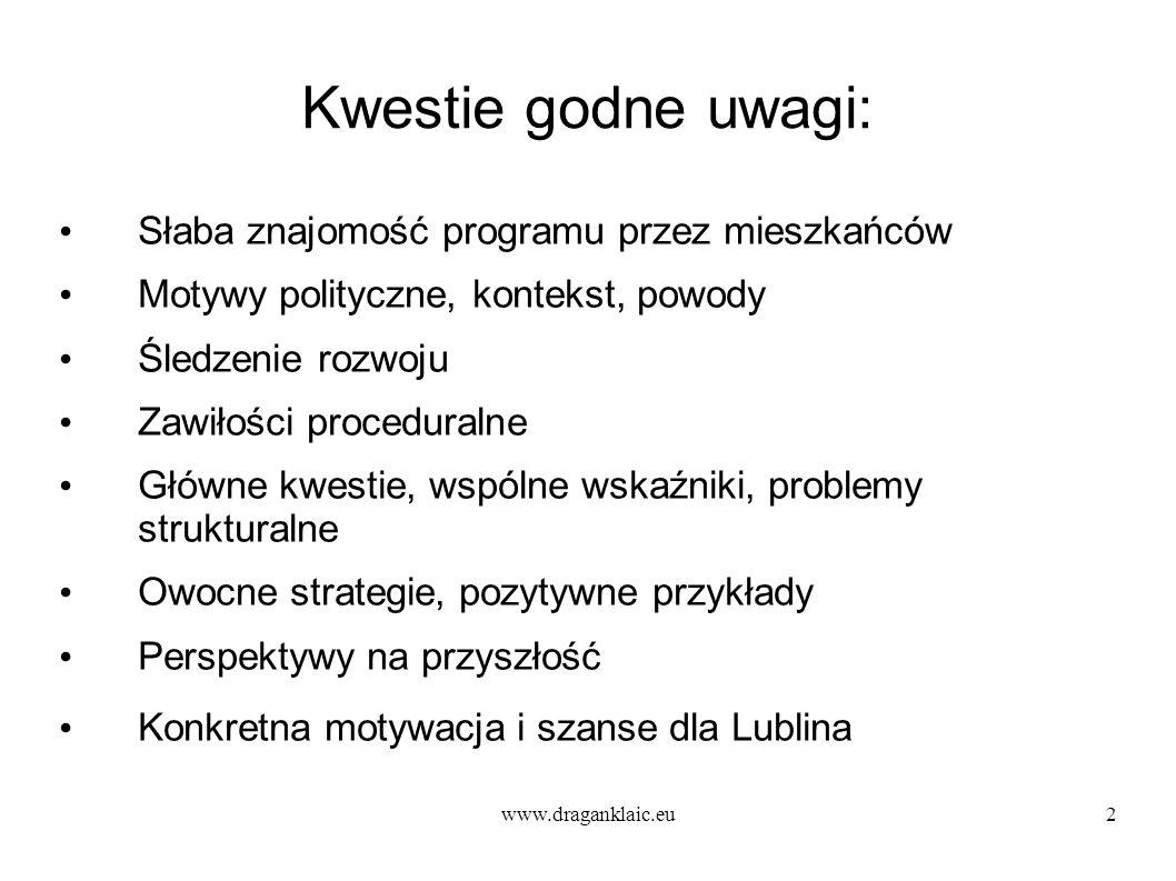 www.draganklaic.eu2 Kwestie godne uwagi: Słaba znajomość programu przez mieszkańców Motywy polityczne, kontekst, powody Śledzenie rozwoju Zawiłości proceduralne Główne kwestie, wspólne wskaźniki, problemy strukturalne Owocne strategie, pozytywne przykłady Perspektywy na przyszłość Konkretna motywacja i szanse dla Lublina