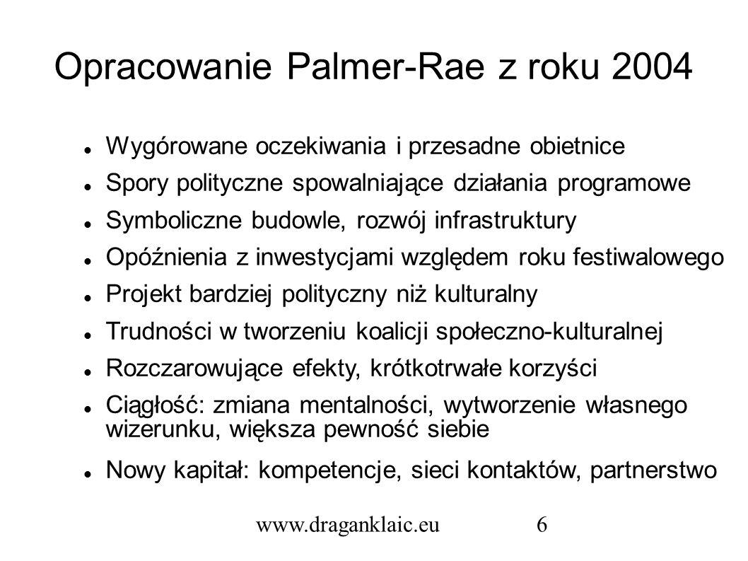 www.draganklaic.eu6 Opracowanie Palmer-Rae z roku 2004 Wygórowane oczekiwania i przesadne obietnice Spory polityczne spowalniające działania programowe Symboliczne budowle, rozwój infrastruktury Opóźnienia z inwestycjami względem roku festiwalowego Projekt bardziej polityczny niż kulturalny Trudności w tworzeniu koalicji społeczno-kulturalnej Rozczarowujące efekty, krótkotrwałe korzyści Ciągłość: zmiana mentalności, wytworzenie własnego wizerunku, większa pewność siebie Nowy kapitał: kompetencje, sieci kontaktów, partnerstwo
