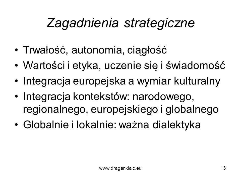 www.draganklaic.eu13 Zagadnienia strategiczne Trwałość, autonomia, ciągłość Wartości i etyka, uczenie się i świadomość Integracja europejska a wymiar