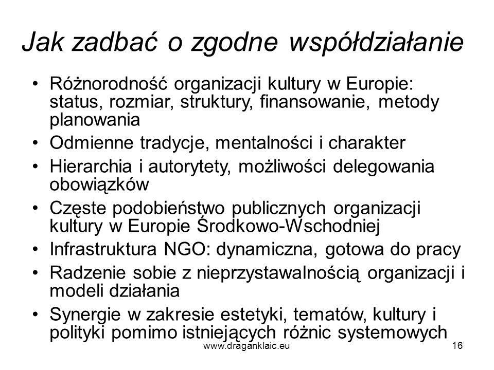 www.draganklaic.eu16 Jak zadbać o zgodne współdziałanie Różnorodność organizacji kultury w Europie: status, rozmiar, struktury, finansowanie, metody p