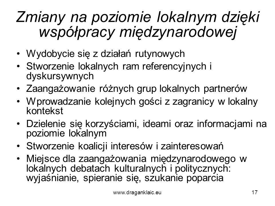 www.draganklaic.eu17 Zmiany na poziomie lokalnym dzięki współpracy międzynarodowej Wydobycie się z działań rutynowych Stworzenie lokalnych ram referen