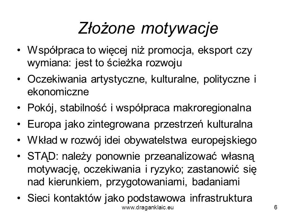 www.draganklaic.eu6 Złożone motywacje Współpraca to więcej niż promocja, eksport czy wymiana: jest to ścieżka rozwoju Oczekiwania artystyczne, kultura