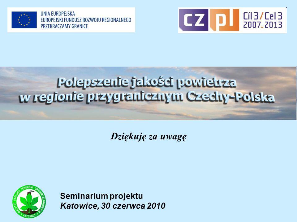Seminarium projektu Katowice, 30 czerwca 2010 Dziękuję za uwagę