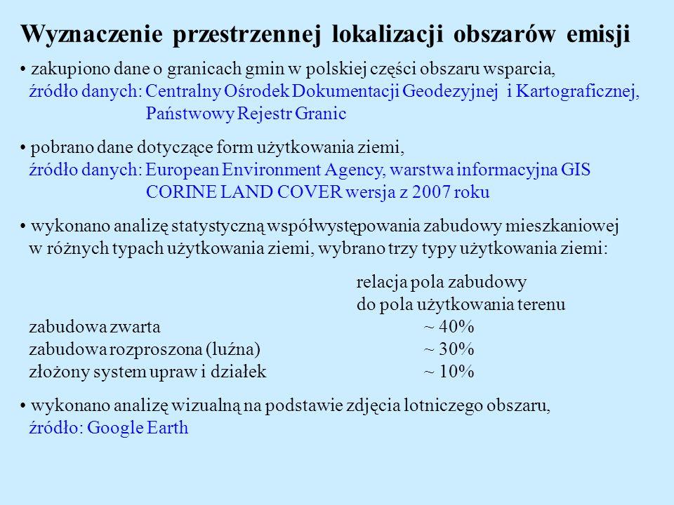 Wyznaczenie przestrzennej lokalizacji obszarów emisji zakupiono dane o granicach gmin w polskiej części obszaru wsparcia, źródło danych: Centralny Ośr