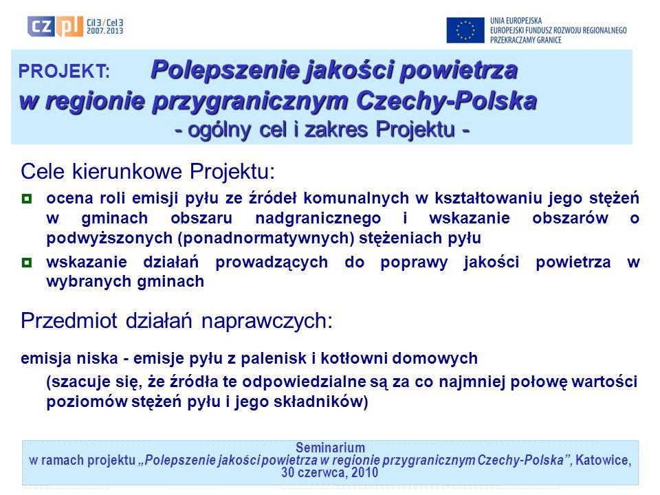 Polepszenie jakości powietrza PROJEKT: Polepszenie jakości powietrza w regionie przygranicznym Czechy-Polska - cele szczegółowe Projektu - 1.