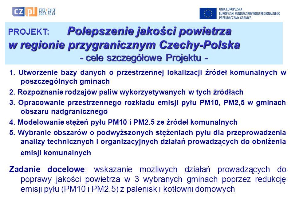 Polepszenie jakości powietrza PROJEKT: Polepszenie jakości powietrza w regionie przygranicznym Czechy-Polska - obszar terytorialny objęty Projektem - DOLNOŚLĄSKIE ŚLĄSKIE OPOLSKIE