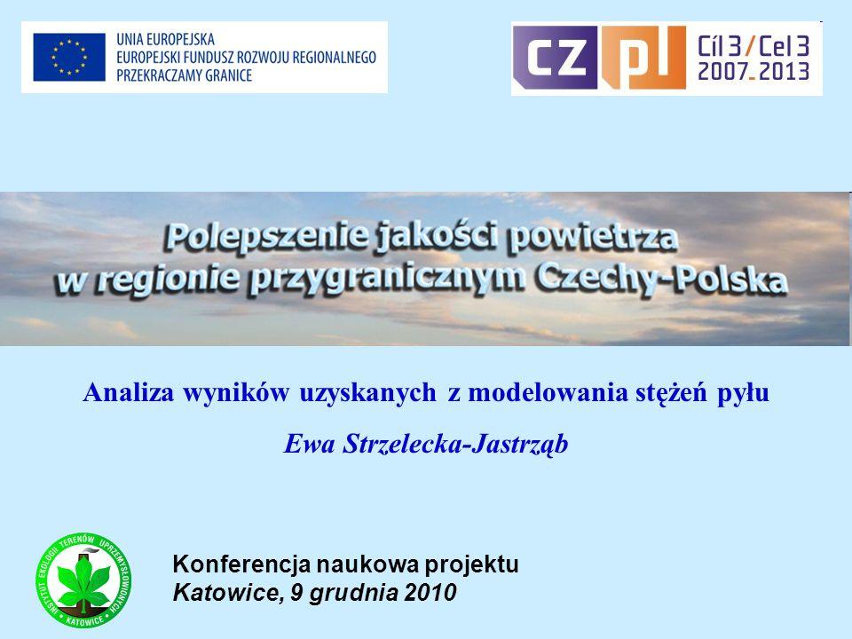 Konferencja naukowa projektu Katowice, 9 grudnia 2010 Analiza wyników uzyskanych z modelowania stężeń pyłu Ewa Strzelecka-Jastrząb