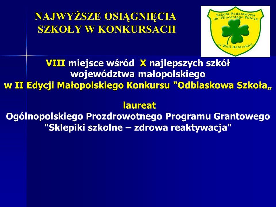 NAJWYŻSZE OSIĄGNIĘCIA SZKOŁY W KONKURSACH VIII miejsce wśród X najlepszych szkół województwa małopolskiego w II Edycji Małopolskiego Konkursu