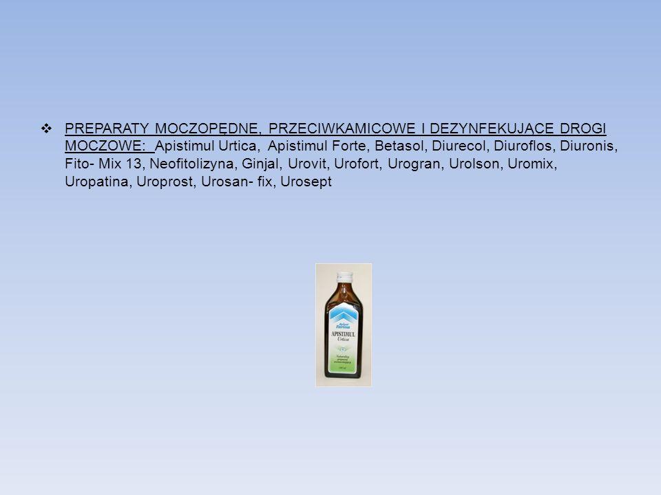 PREPARATY MOCZOPĘDNE, PRZECIWKAMICOWE I DEZYNFEKUJĄCE DROGI MOCZOWE: Apistimul Urtica, Apistimul Forte, Betasol, Diurecol, Diuroflos, Diuronis, Fito-