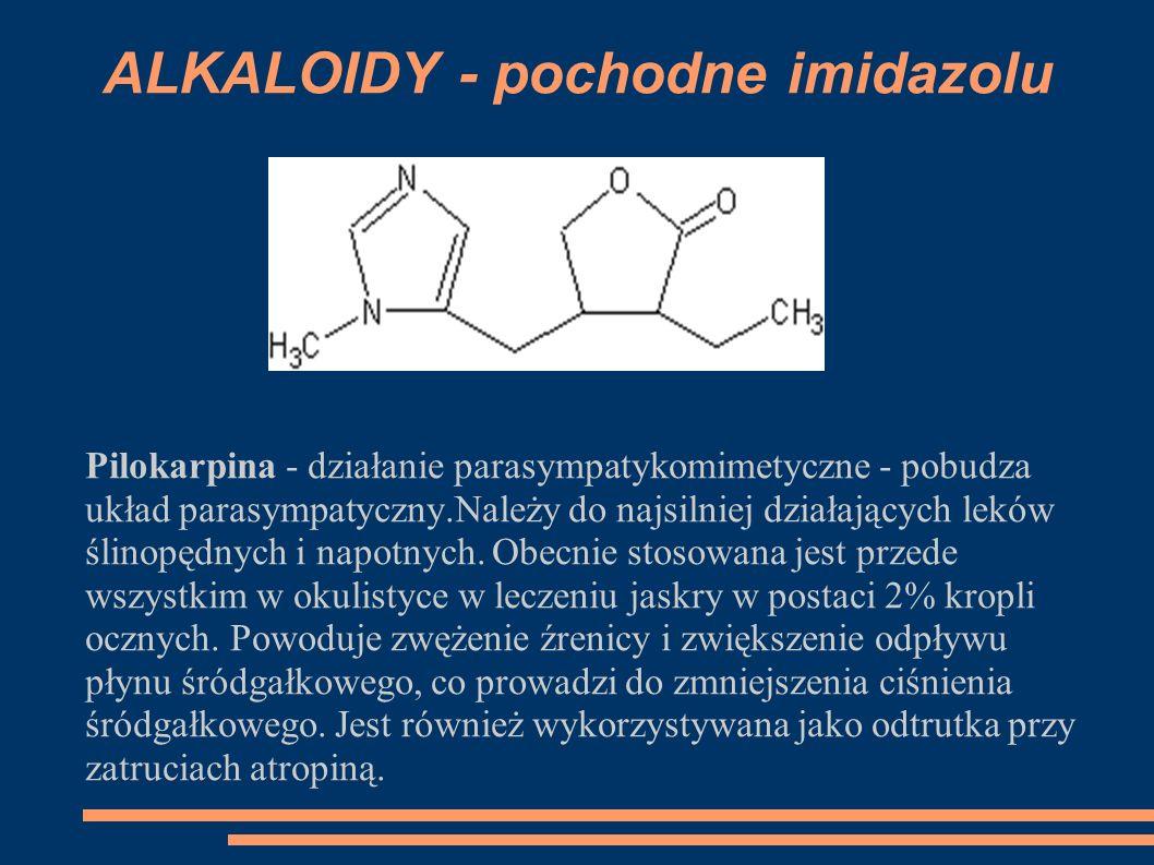 ALKALOIDY - pochodne imidazolu Pilokarpina - działanie parasympatykomimetyczne - pobudza układ parasympatyczny.Należy do najsilniej działających leków
