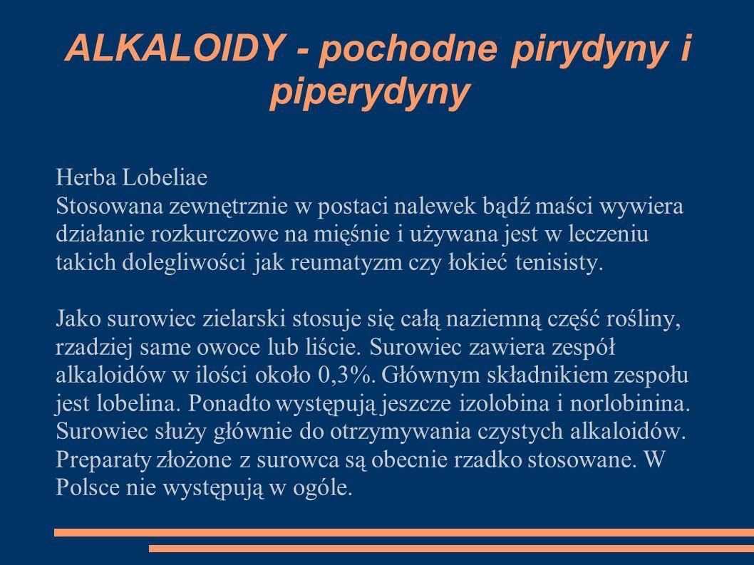 Herba Lobeliae Stosowana zewnętrznie w postaci nalewek bądź maści wywiera działanie rozkurczowe na mięśnie i używana jest w leczeniu takich dolegliwoś