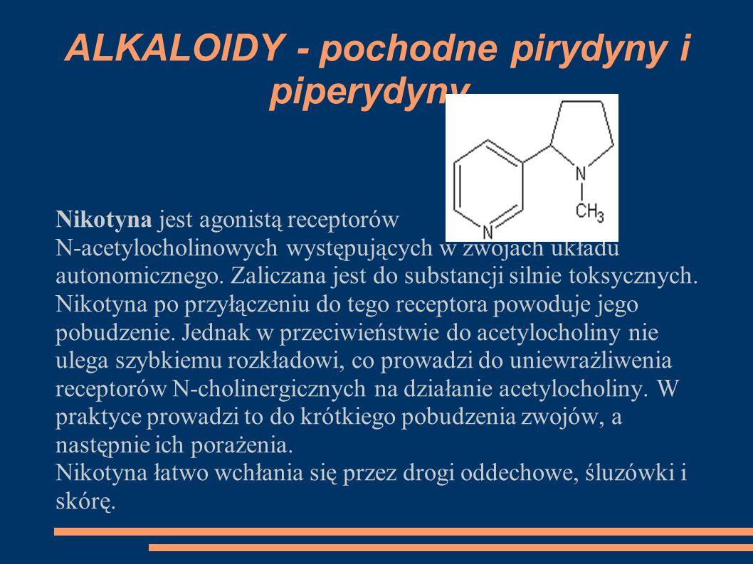 ALKALOIDY - pochodne pirydyny i piperydyny Nikotyna jest agonistą receptorów N-acetylocholinowych występujących w zwojach układu autonomicznego. Zalic