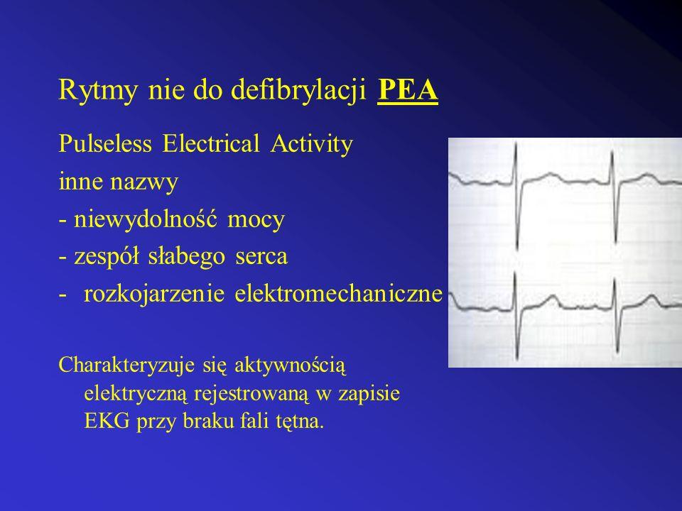 Rytmy nie do defibrylacji PEA Pulseless Electrical Activity inne nazwy - niewydolność mocy - zespół słabego serca -rozkojarzenie elektromechaniczne Ch