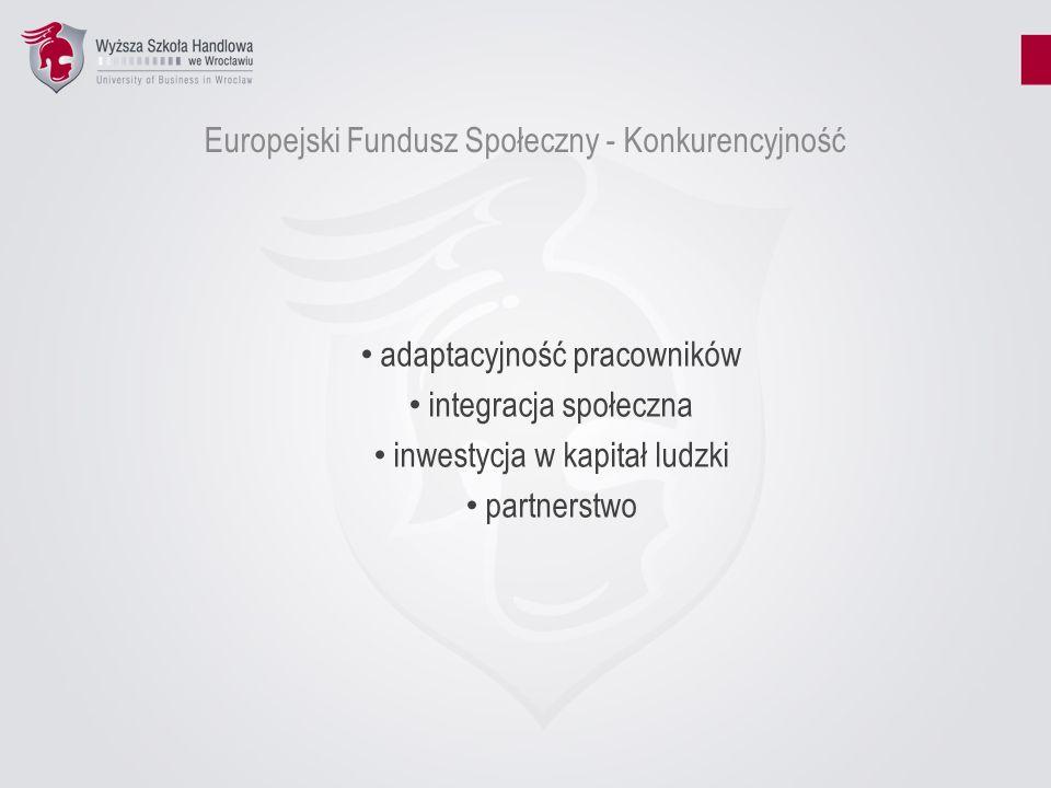 Europejski Fundusz Społeczny - Konkurencyjność adaptacyjność pracowników integracja społeczna inwestycja w kapitał ludzki partnerstwo